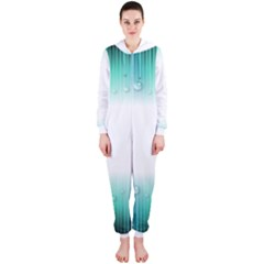 Blue Stripe With Water Droplets Hooded Jumpsuit (ladies)