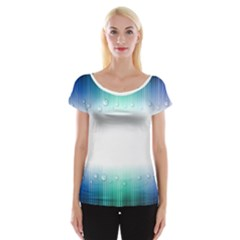 Blue Stripe With Water Droplets Women s Cap Sleeve Top