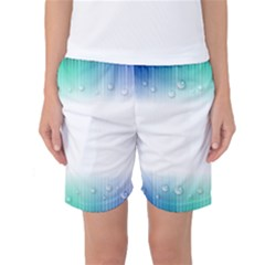 Blue Stripe With Water Droplets Women s Basketball Shorts
