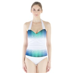 Blue Stripe With Water Droplets Halter Swimsuit