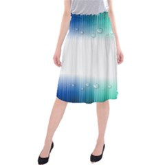 Blue Stripe With Water Droplets Midi Beach Skirt