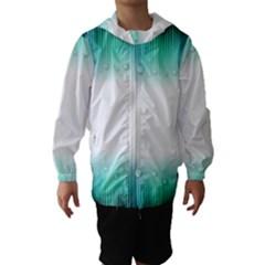 Blue Stripe With Water Droplets Hooded Wind Breaker (Kids)