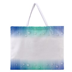 Blue Stripe With Water Droplets Zipper Large Tote Bag