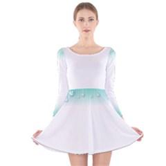 Blue Stripe With Water Droplets Long Sleeve Velvet Skater Dress