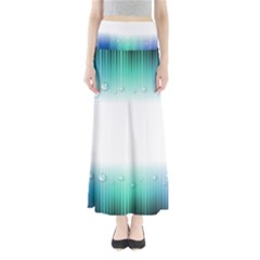 Blue Stripe With Water Droplets Maxi Skirts