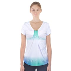 Blue Stripe With Water Droplets Short Sleeve Front Detail Top