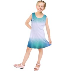 Blue Stripe With Water Droplets Kids  Tunic Dress