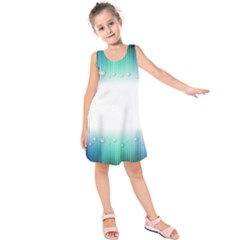 Blue Stripe With Water Droplets Kids  Sleeveless Dress