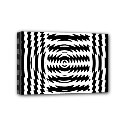 Black And White Abstract Stripped Geometric Background Mini Canvas 6  x 4