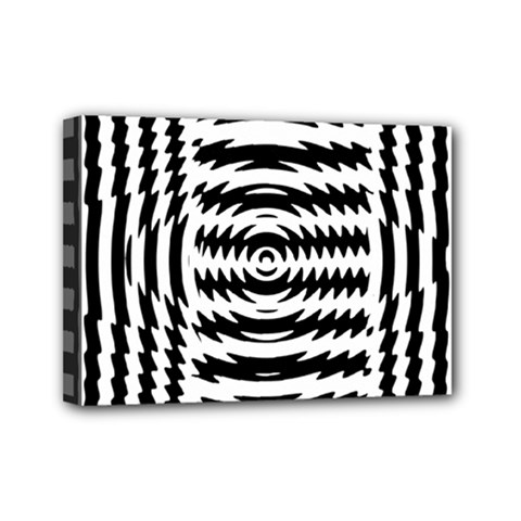 Black And White Abstract Stripped Geometric Background Mini Canvas 7  X 5