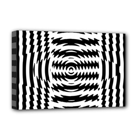 Black And White Abstract Stripped Geometric Background Deluxe Canvas 18  x 12