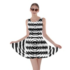 Black And White Abstract Stripped Geometric Background Skater Dress