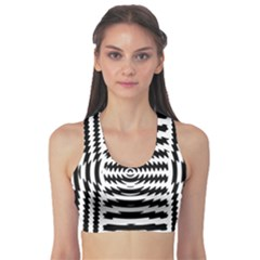Black And White Abstract Stripped Geometric Background Sports Bra