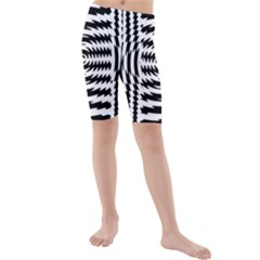 Black And White Abstract Stripped Geometric Background Kids  Mid Length Swim Shorts