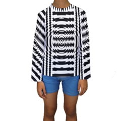 Black And White Abstract Stripped Geometric Background Kids  Long Sleeve Swimwear