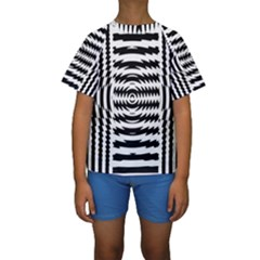 Black And White Abstract Stripped Geometric Background Kids  Short Sleeve Swimwear