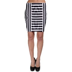 Black And White Abstract Stripped Geometric Background Bodycon Skirt