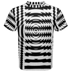 Black And White Abstract Stripped Geometric Background Men s Cotton Tee