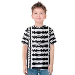 Black And White Abstract Stripped Geometric Background Kids  Cotton Tee