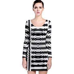 Black And White Abstract Stripped Geometric Background Long Sleeve Bodycon Dress
