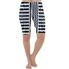 Black And White Abstract Stripped Geometric Background Cropped Leggings