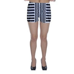 Black And White Abstract Stripped Geometric Background Skinny Shorts