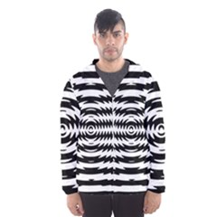 Black And White Abstract Stripped Geometric Background Hooded Wind Breaker (Men)