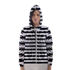 Black And White Abstract Stripped Geometric Background Hooded Wind Breaker (Women)