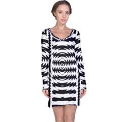 Black And White Abstract Stripped Geometric Background Long Sleeve Nightdress
