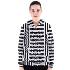 Black And White Abstract Stripped Geometric Background Women s Zipper Hoodie