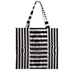 Black And White Abstract Stripped Geometric Background Zipper Grocery Tote Bag