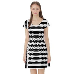Black And White Abstract Stripped Geometric Background Short Sleeve Skater Dress