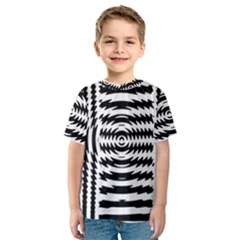 Black And White Abstract Stripped Geometric Background Kids  Sport Mesh Tee