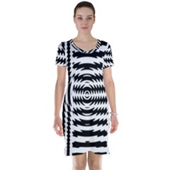 Black And White Abstract Stripped Geometric Background Short Sleeve Nightdress