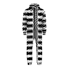 Black And White Abstract Stripped Geometric Background Hooded Jumpsuit (Kids)