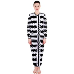 Black And White Abstract Stripped Geometric Background Onepiece Jumpsuit (ladies)