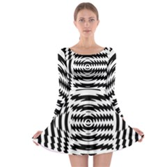 Black And White Abstract Stripped Geometric Background Long Sleeve Skater Dress