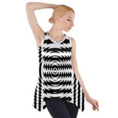 Black And White Abstract Stripped Geometric Background Side Drop Tank Tunic