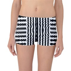 Black And White Abstract Stripped Geometric Background Reversible Bikini Bottoms