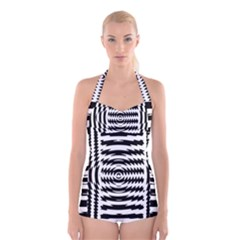 Black And White Abstract Stripped Geometric Background Boyleg Halter Swimsuit