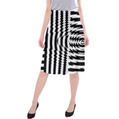 Black And White Abstract Stripped Geometric Background Midi Beach Skirt