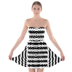 Black And White Abstract Stripped Geometric Background Strapless Bra Top Dress