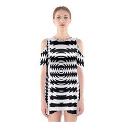 Black And White Abstract Stripped Geometric Background Shoulder Cutout One Piece