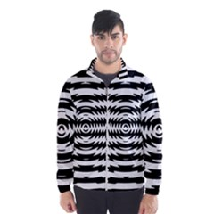 Black And White Abstract Stripped Geometric Background Wind Breaker (Men)