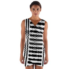 Black And White Abstract Stripped Geometric Background Wrap Front Bodycon Dress
