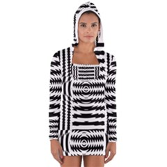 Black And White Abstract Stripped Geometric Background Women s Long Sleeve Hooded T-shirt
