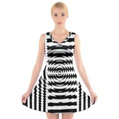 Black And White Abstract Stripped Geometric Background V Neck Sleeveless Skater Dress