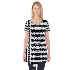 Black And White Abstract Stripped Geometric Background Short Sleeve Tunic