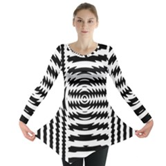 Black And White Abstract Stripped Geometric Background Long Sleeve Tunic