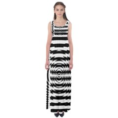 Black And White Abstract Stripped Geometric Background Empire Waist Maxi Dress